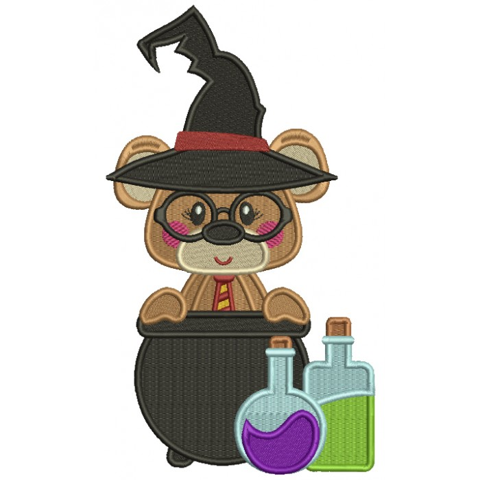 Cute Bear Looks Like Harry Potter With Potions Wearing Sorting Hat Filled Machine Embroidery Design Digitized Pattern