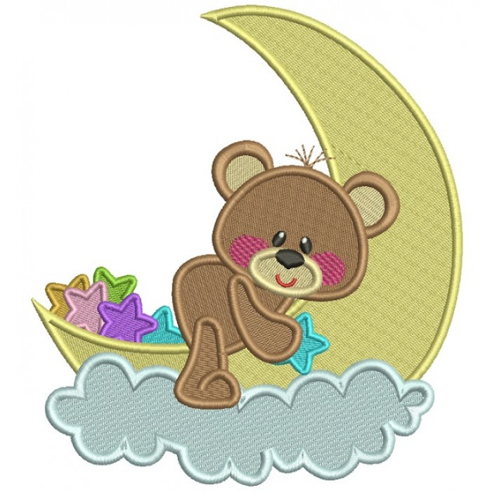 Cute Bear Sitting On The Moon Filled Machine Embroidery Design Digitized