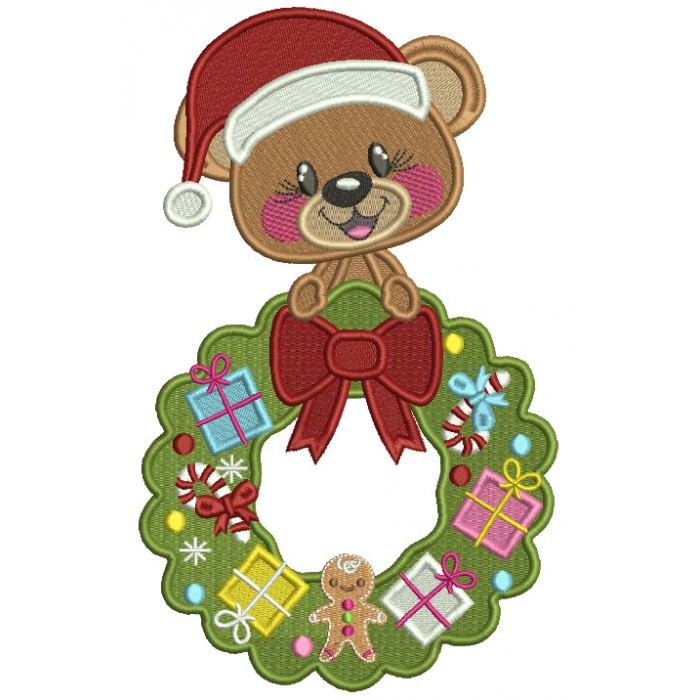 Cute Bear Wearing Santa Hat Holding Christmas Wreath Filled Machine Embroidery Design Digitized Pattern