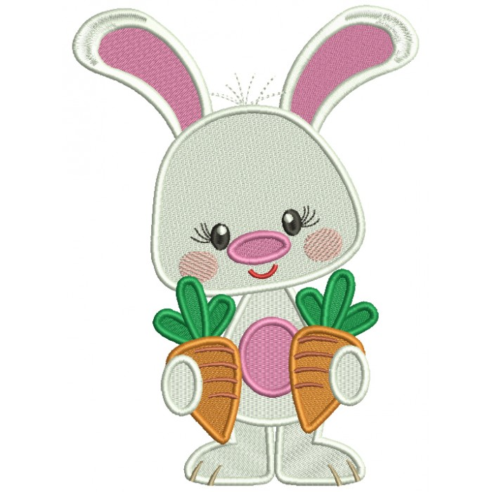 Cute Bunny Holding Two Carrots Easter Filled Machine Embroidery Design Digitized