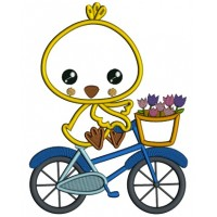 Cute Chick Riding a Bicycle Easter Applique Machine Embroidery Design Digitized Pattern