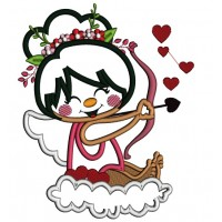 Cute Cupid Girl Sitting On A Cloud Applique Machine Embroidery Design Digitized Pattern