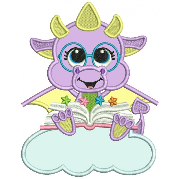 Cute Dino Sitting On The Cloud Reading a Book Applique Machine Embroidery Design Digitized Pattern