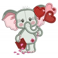 Cute Elephant Holding Letter Full Of Hearts and Heart Shaped Balloons Applique Machine Embroidery Design Digitized Pattern