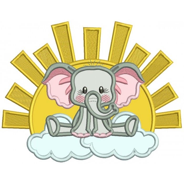 Cute Elephant Sitting On The Cloud Applique Machine Embroidery Design Digitized