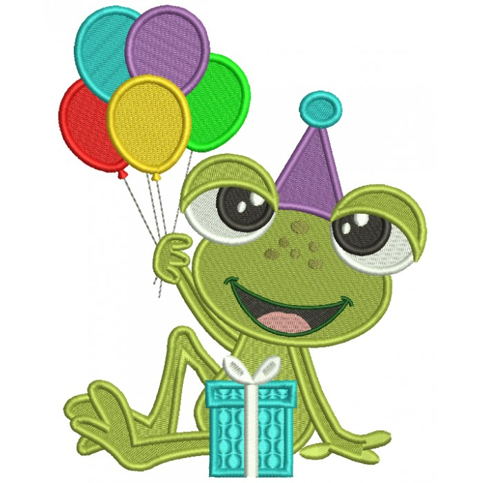 Cute Little Birthday Frog Holding Balloons Filled Machine Embroidery Design Digitized Pattern