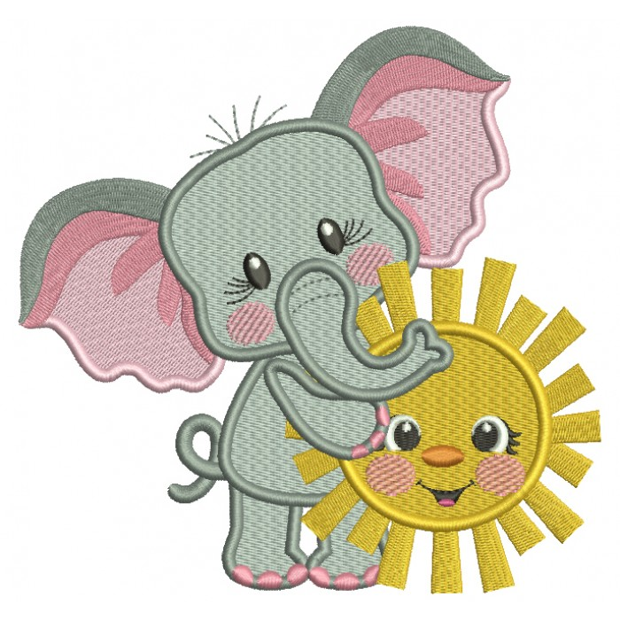 Cute Little Elephant Holding The Sun Filled Machine Embroidery Design Digitized