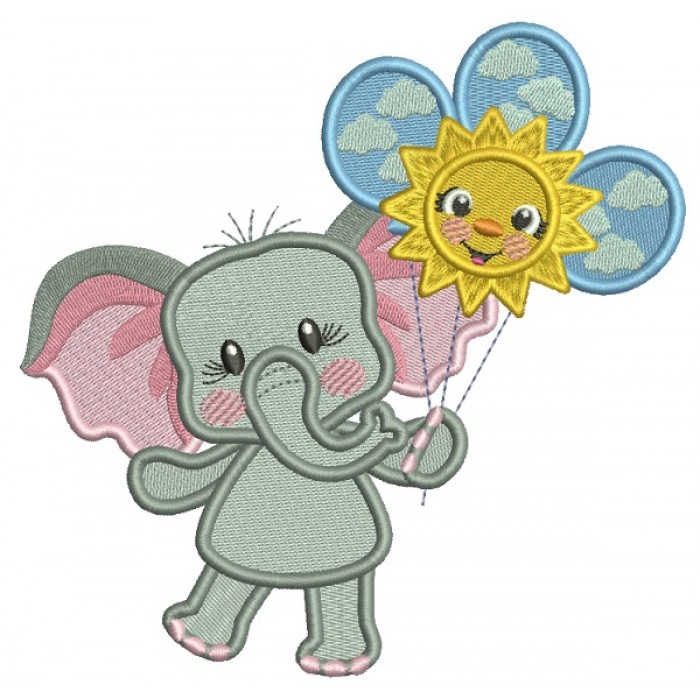Cute Little Elephant Holding Three Balloons Filled Machine Embroidery Design Digitized