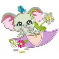 Cute Little Elephant Inside An Umbrella Applique Machine Embroidery Design Digitized Pattern