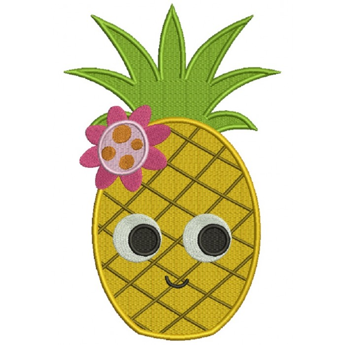 Cute Little Pineapple Filled Machine Embroidery Design Digitized Pattern