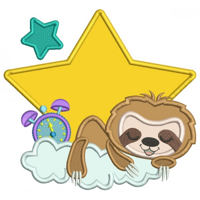 Cute Little Sloth One THe Cloud Applique Machine Embroidery Design Digitized Pattern