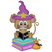 Cute Little Wizard Rat Reading The Book Of Spells Halloween Applique Machine Embroidery Design Digitized Pattern