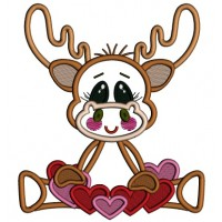 Cute Moose With Lots Of Hearts Applique Machine Embroidery Design Digitized Pattern