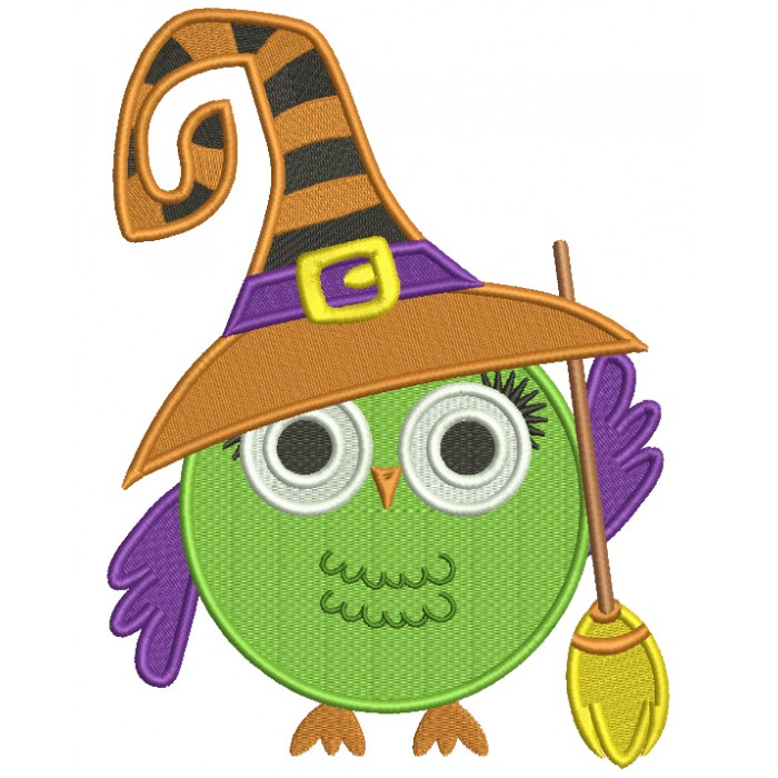 Cute Owl Witch With a Big Hat And a Broom Filled Machine Embroidery Design Digitized Pattern