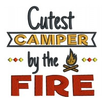 Cutest Camper By The Fire Applique Machine Embroidery Design Digitized Pattern