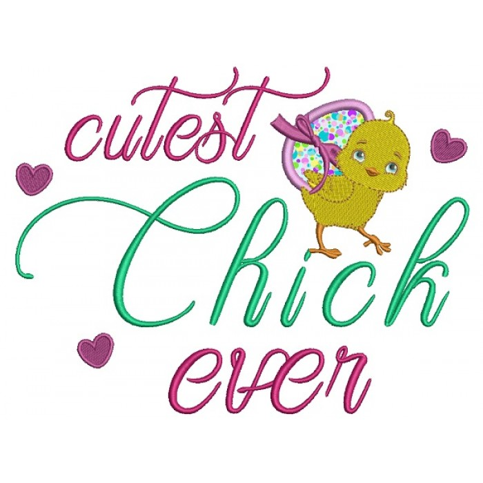 Cutest Chick Ever Easter Applique Machine Embroidery Design Digitized Pattern