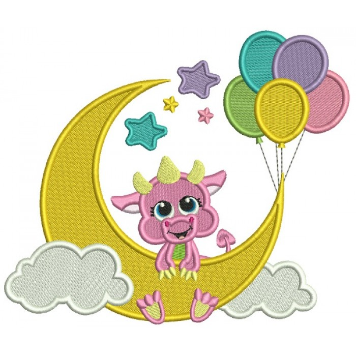 Dragon On The Moon With Balloons Filled Machine Embroidery Digitized Design Pattern