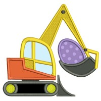 Excavator With An Easter Egg Applique Machine Embroidery Design Digitized Pattern
