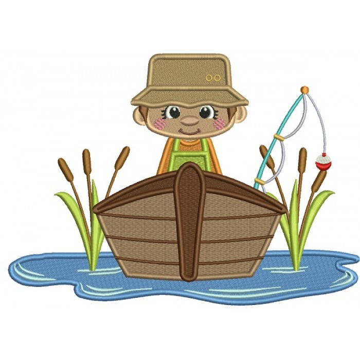 Fisherman Catching Fish On The Boat Filled Machine Embroidery Design Digitized Pattern