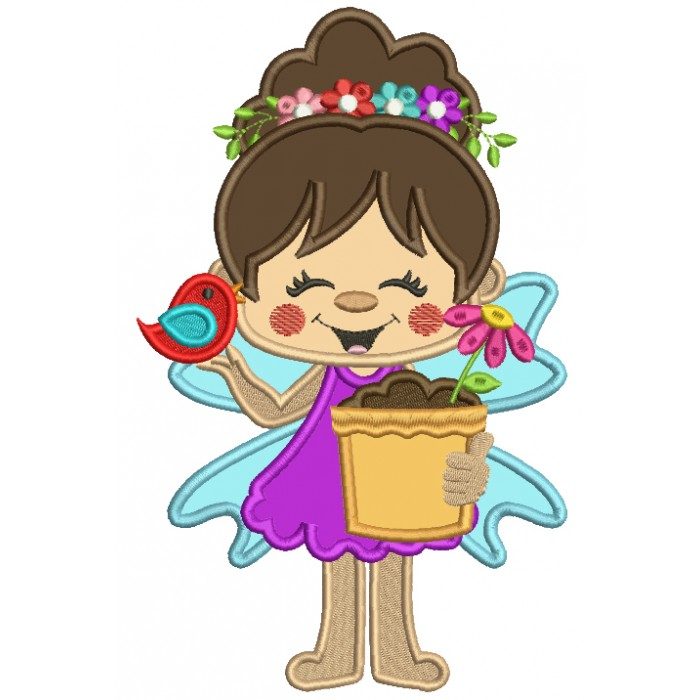 Flower Fairy With a Flower Pot Applique Machine Embroidery Design Digitized Pattern