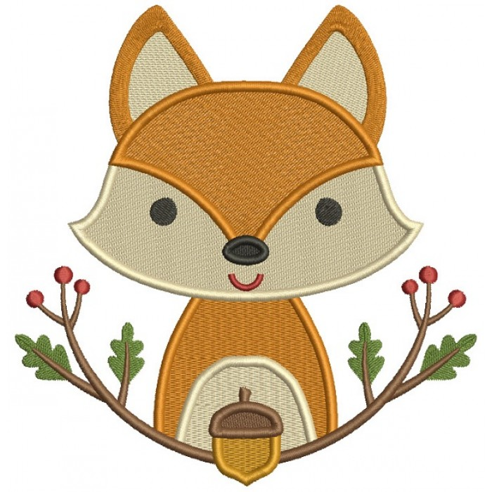 Fox Sitting Behind The Branch Filled Machine Embroidery Design Digitized Pattern