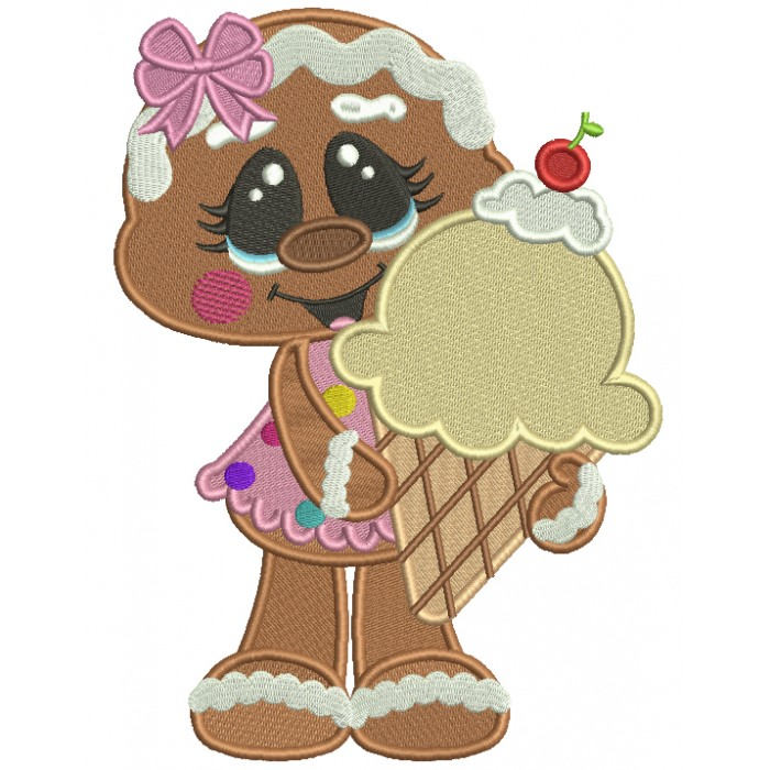 Gingerbread Girl Holding Huge Ice Cream Cone Filled Machine Embroidery Digitized Design Pattern