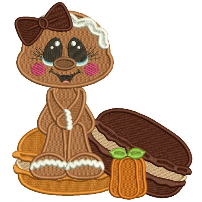 Gingerbread Girl Sitting on a Donut Fall Filled Thanksgiving Machine Embroidery Design Digitized Pattern