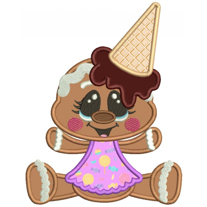 Gingerbread Girl With Ice Cream Cone On Her Head Applique Machine Embroidery Digitized Design Pattern