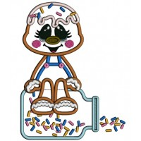 Gingerbread Man Sitting On Top Of Jar Applique With Sprinklers Applique Machine Embroidery Digitized Design Pattern