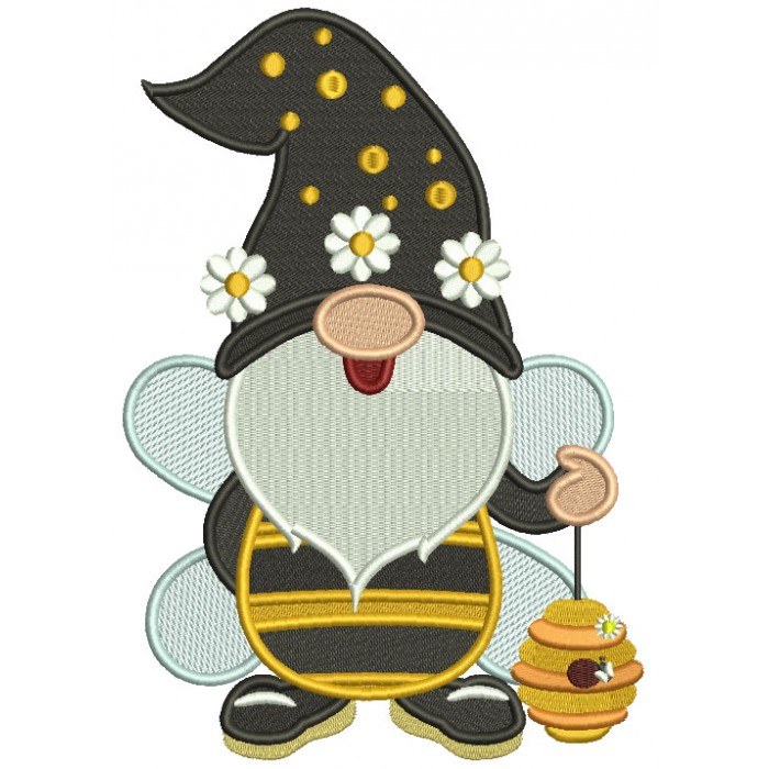 Gnome Bumble Bee Filled Machine Embroidery Design Digitized Pattern