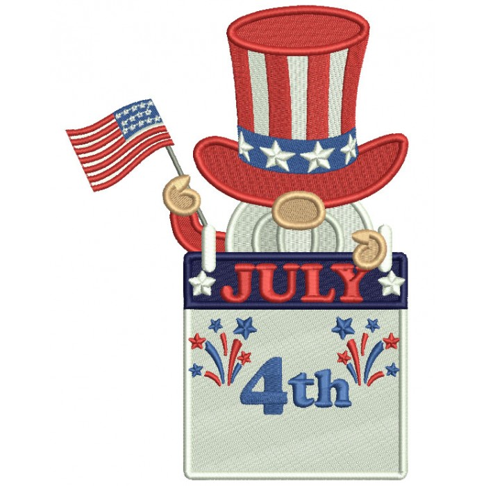 Gnome Holding American Flag 4th Of July Patriotic Filled Machine Embroidery Design Digitized Pattern