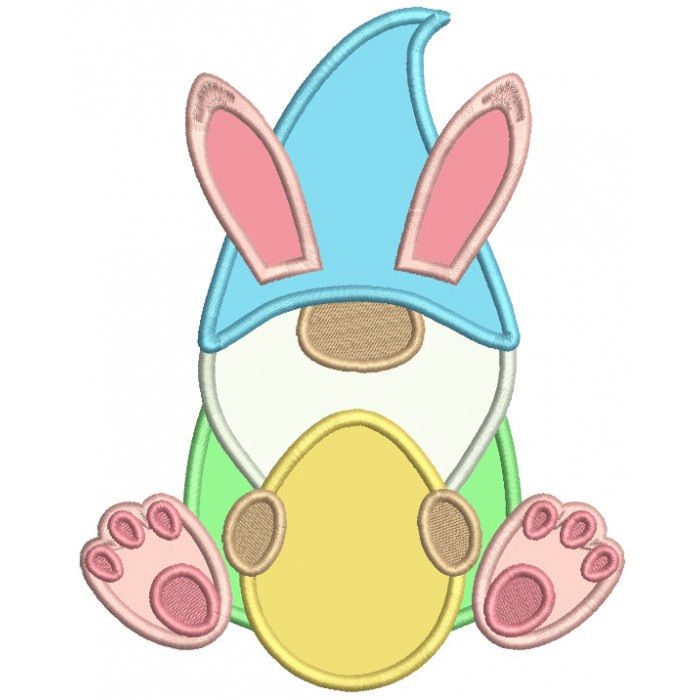 Gnome Holding Easter Egg Applique Machine Embroidery Design Digitized Pattern