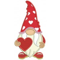 Gnome Holding a Big Heart Valentine's Day Applique Machine Embroidery Design Digitized Pattern