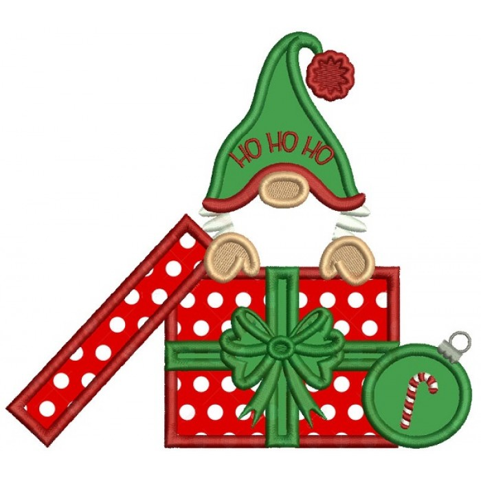 Gnome Sitting Inside a Box With Presents Wearing Santa Hat Christmas Applique Machine Embroidery Design Digitized Pattern