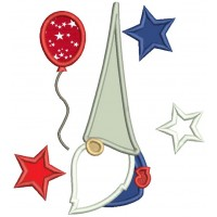 Gnome With Stars And a Balloon 4th Of July Patriotic Applique Machine Embroidery Digitized Design Pattern