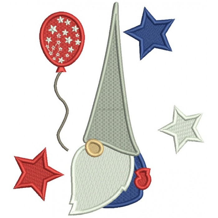 Gnome With Stars And a Balloon 4th Of July Patriotic Filled Machine Embroidery Digitized Design Pattern