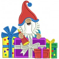 Gnome With a Lot of Birthday Presents Applique Machine Embroidery Design Digitized Pattern