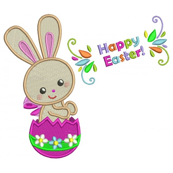 Happy Easter Bunny Inside Egg Filled Machine Embroidery Design Digitized Pattern