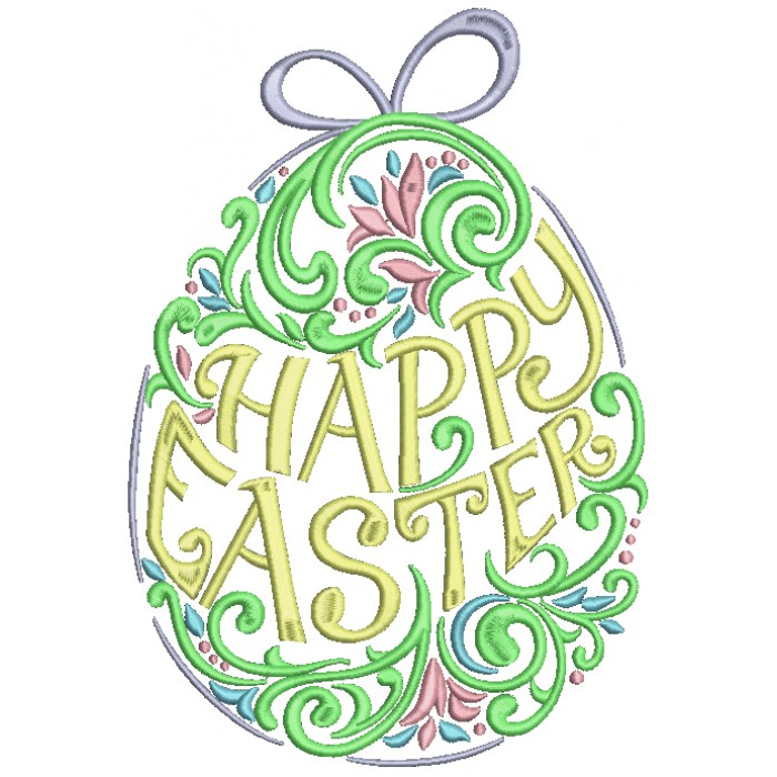 Happy Easter Fancy Ornate Egg With Bunny Ears Filled Machine Embroidery Design Digitized Pattern