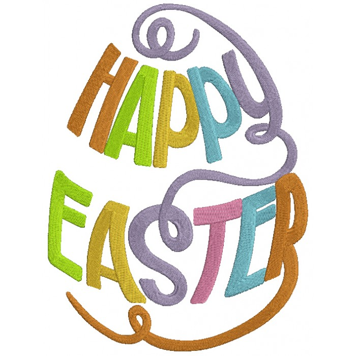 Happy Easter Text Shaped Like an Egg Filled Machine Embroidery Design Digitized Pattern