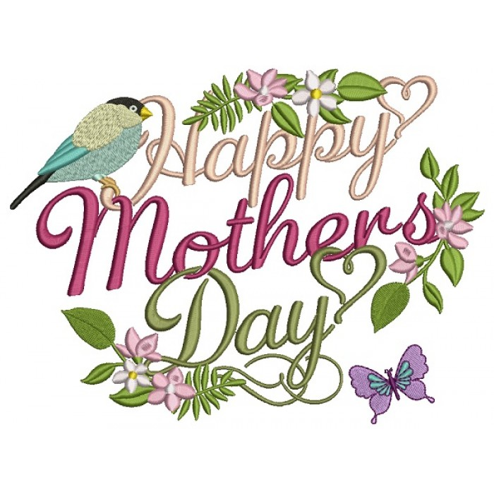 Happy Mother's Day Decorative Ornament Filled Machine Embroidery Design Digitized Pattern
