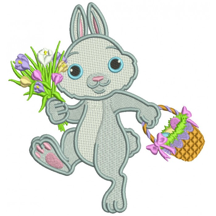 Hopping Bunny With Flowers And Easter Basket Filled Machine Embroidery Design Digitized Pattern