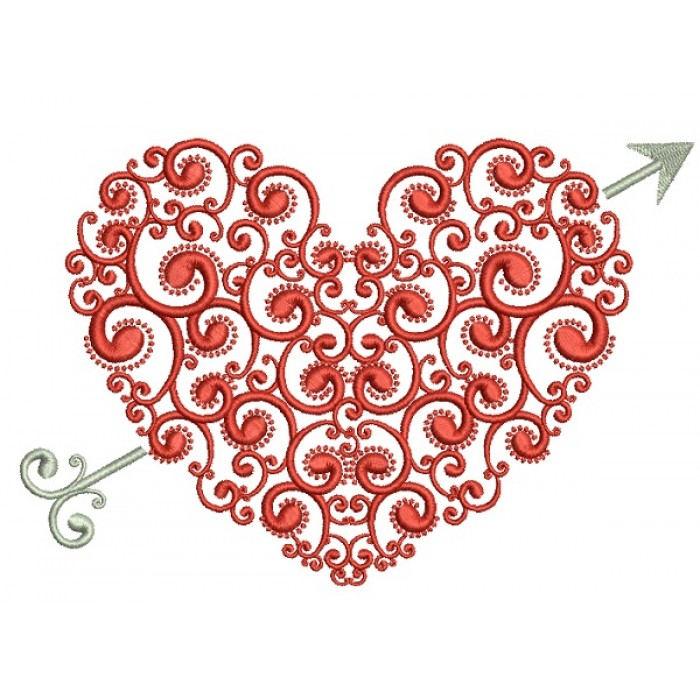 Ornate Heart With Arrow Love Filled Machine Embroidery Design Digitized Pattern