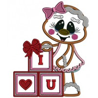 I Love You Building Blocks With a Heart Gingerbread Girl Applique Machine Embroidery Design Digitized Pattern