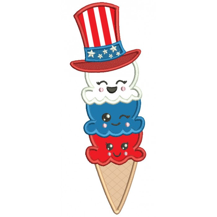 Ice Cream Cone Wearing American Flag 4th Of July Patriotic Applique Machine Embroidery Digitized Design Pattern