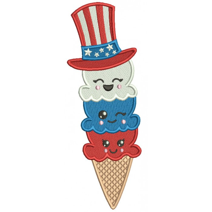 Ice Cream Cone Wearing American Flag 4th Of July Patriotic Filled Machine Embroidery Digitized Design Pattern