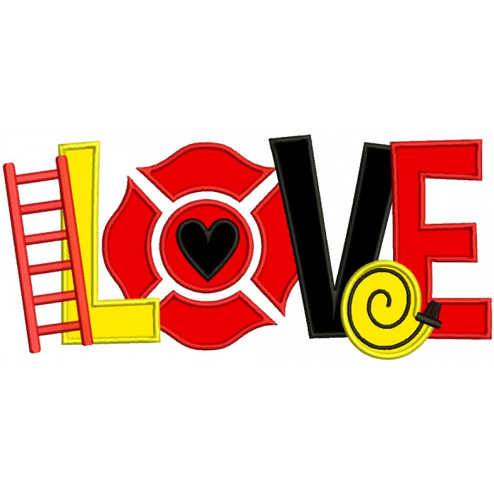 LOVE Firefighter Hose and Ladder Applique Machine Embroidery Design Digitized Pattern