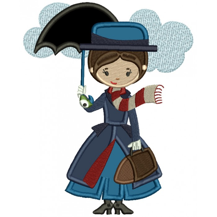 Lady Holding an Umbrella Applique Machine Embroidery Design Digitized Pattern