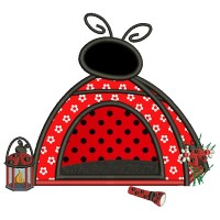 Ladybug Camping Tent With a Lantern Applique Machine Embroidery Design Digitized Pattern