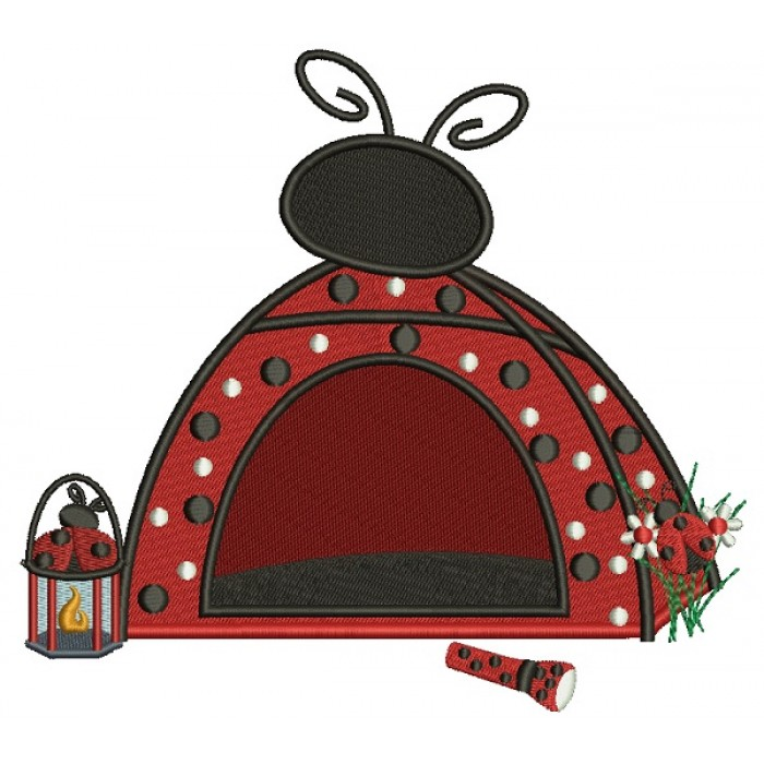 Ladybug Camping Tent With a Lantern Filled Machine Embroidery Design Digitized Pattern